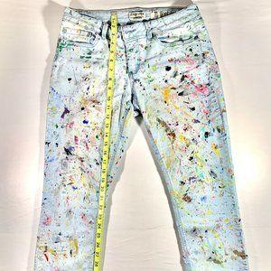 Distressed Denim Paint Splatter Jeans Womens Sz.11